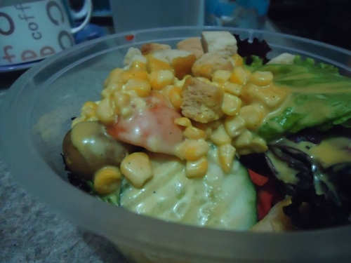 I also started working out last Monday and I'm trying to eat healthier foods like this veggie salad I had for dinner! Yum! Yum!