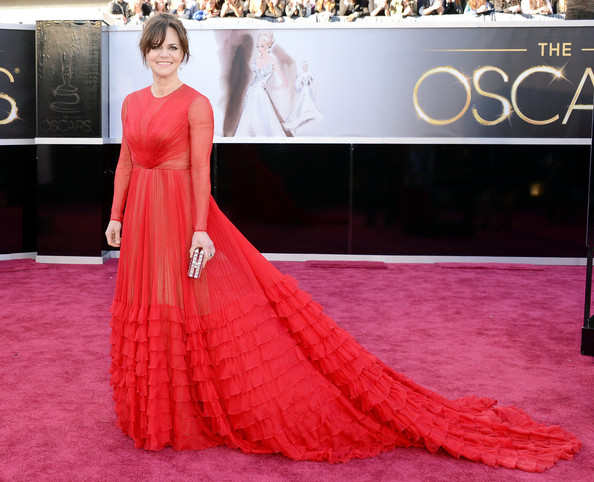 Sally Field was wearing a red Valentiono ball gown with overdone ruffles along the skirt! I totally loved it!