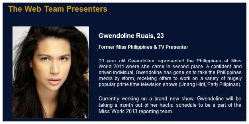 Gwen Presenting At Miss World 2013