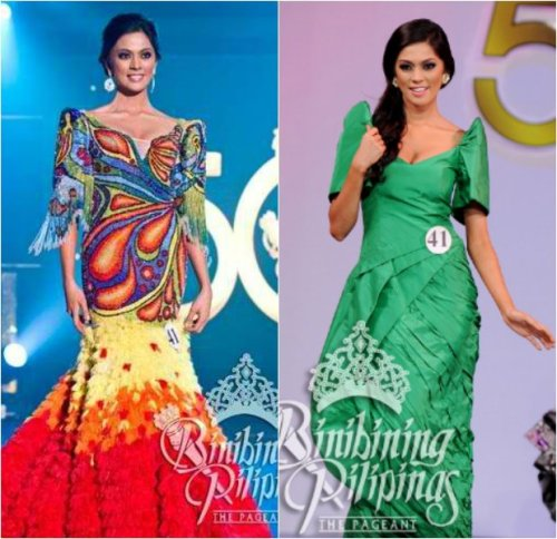 Ara wearing two variations of the Filipiniana costume