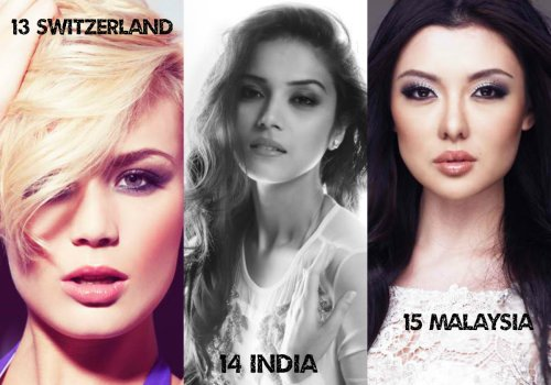 13. Switzerland - Dominique Rinerknecht 14. India - Manasi Moghe 15. Malaysia - Carey Ng