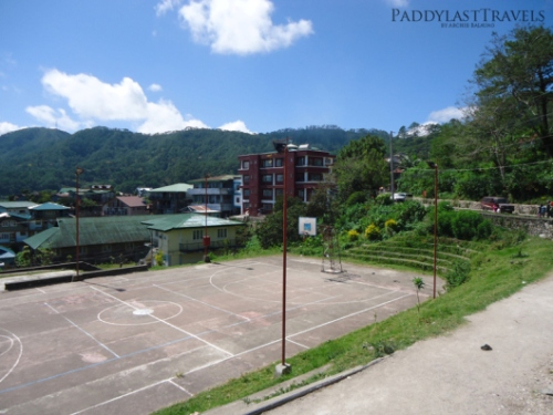 the basketball court at the center of Sagada