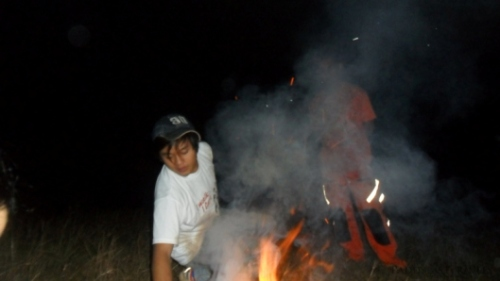 Edwin and Patrick made a bonfire! Yay!