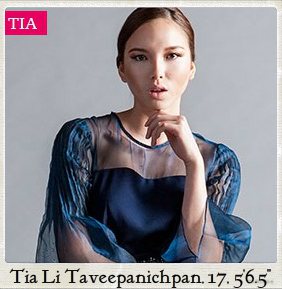 from Thailand, Tia's the youngest contestant ever in the two seasons of Asia's Next Top Model and is still a student