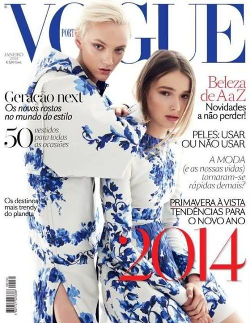 This was a reprint from Australian Vogue editorial becoming a worthy cover of the Portuguese edition featuring April Tiplady and Maddison Brown