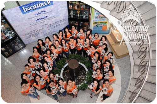 The 40 candidates of the 2014 Bb. Pilipinas Pageant during their visit at the Philippine Daily Inquirer office. During the coronation night, one candidate will be awarded the Philippine Daily Inquirer Reader's Choice Award.