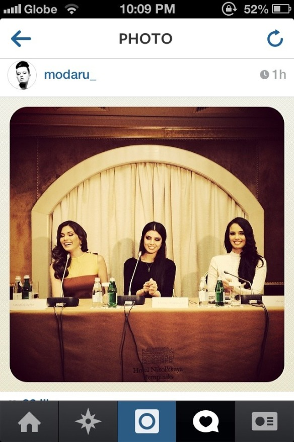 during a press conference, the reigning Miss Universe Gabriela Isler, Miss Russia 2013 Elmira Abdrazakova and Miss World 2013 Megan Young via missosology