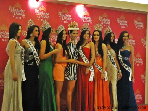 The 2014 Queens With reigning Miss International Bea Santiago and Miss Supranational Mutya Datul
