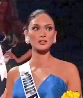 Miss Philippines Pia Wurtzbach reacts in disbelief!