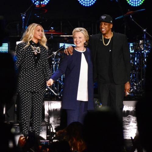 Hillary is joined by power couple Beyonce and Jay-Z to rally the crowd in Cleveland to turn out to vote for the only sane candidate this year - and no, it ain't Donald!